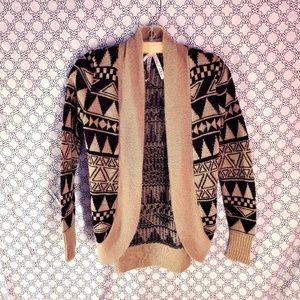 Ladies black and tan Cardigan Sweater
